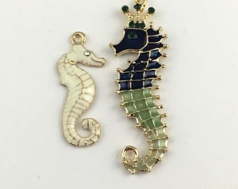 2 sea horse white enamel and gold tone charm 30mm #CH 288