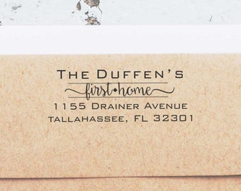 Housewarming Gift, First Home Address Stamp, Custom Address Stamp, Our First Home self inking return address stamps, Address Stamp 10195