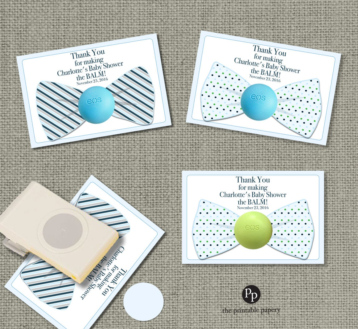 Bow Tie Baby Shower Gift Tags For EOS Lip Balm Gifts Thank