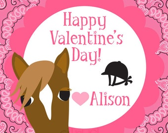 Horse Valentine's Day Cards for Kids Personalized Printable