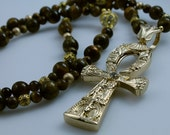 Yellow Gold Ankh Tiger Eye Necklace