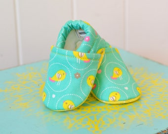 CLEARANCE! Turquoise, Pink, and Yellow Bird Baby Girl Shoes
