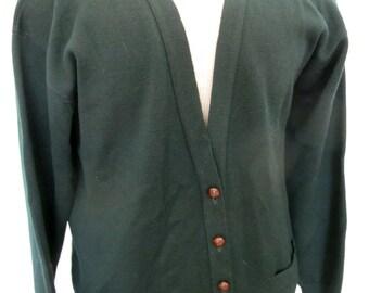 Scottish Cardigan Sweater Grandpa Cardigan Wool Sweater Green