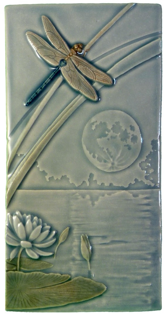Dragonfly Moon Art Tile 4 X 8 Inches