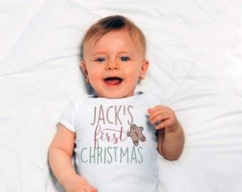 Baby's First Christmas Personalized One Piece// Baby's First Christmas Gingerbread Bodysuit