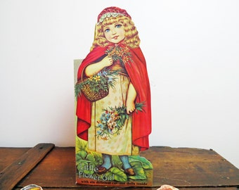 Vintage Little Flower Girl Die Cut Book with paper dolls- Old Fashioned Style Dolly Book by Merrimack Publishing Co. 1970's