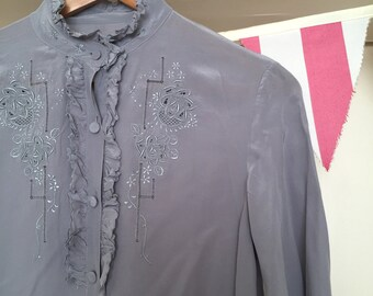 Vintage 1970s Grey Silk Embroidered Blouse - Size M