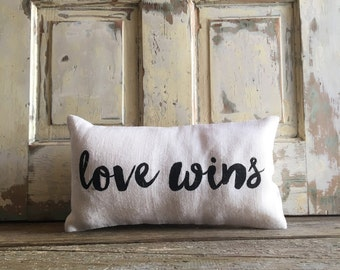 Burlap Pillow - 'Love Wins' pillow | Love Wins | #LoveWins | LGBT marriage | Gay Pride | LGBT | Gay wedding | Commitment Ceremony |