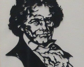 Ludwig Von Beethoven - Original Hans Bittner Scissor Cut Silhouette Scissor Art - Framed