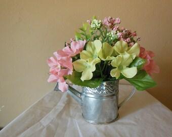 Mini Silk Flower Arrangement Metal Pail Thinking of You, Get Well, Congratulations, Birthday