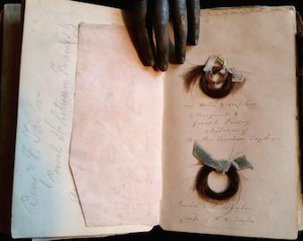 Early Victorian Keepsake Book with Locks of Hair