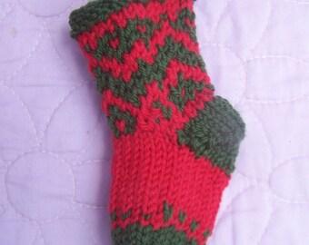 Zigzag mini stocking, Mini gift bag stocking, Christmas stocking decoration, Red green stocking, Stocking tree decor, Stocking tree ornament