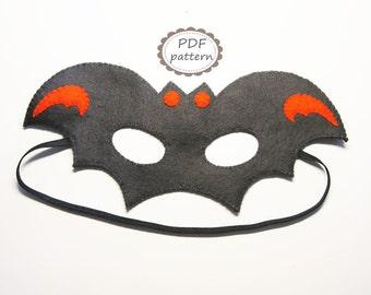 PDF PATTERN Bat felt mask sewing tutorial instruction - Black Orange - DIY Halloween costume accessory for boys girls adults Dress up play