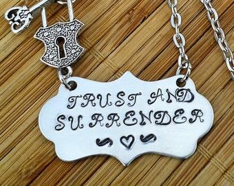 Trust and Surrender - Padlock and Key BDSM jewellery collar