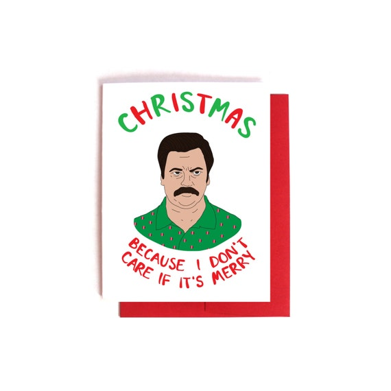 Ron Swanson Christmas Card Sarcastic Parks and Rec Card