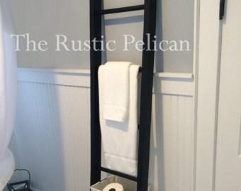 Rustic Bathroom Ladder -Farmhouse Ladder -Rustic - 6ft- Quilt Ladder -Wooden Ladder -Rustic Towel Rack -Primitive Home Decor - Magazine Rack