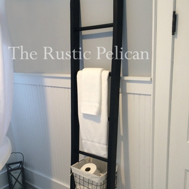 Rustic bathroom ladder farmhouse ladder rustic 6ft quilt for 6ft bathroom ideas