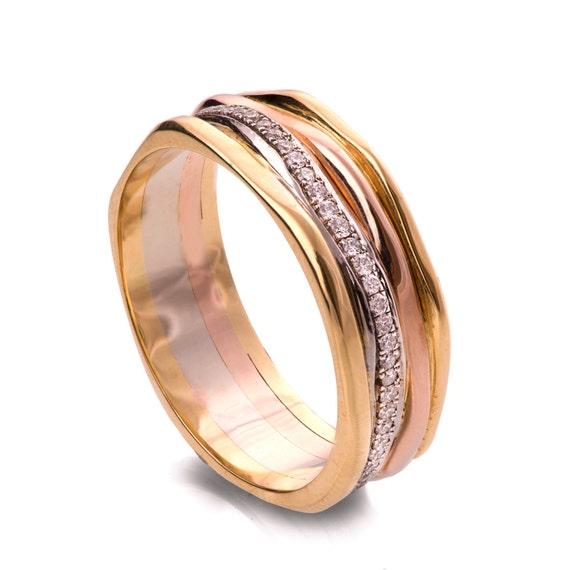 Gold and Diamonds Engagement Band Wedding Ring Eternity