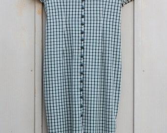 Green TARTAN Dress. Button Down Dress. Green Plaid Maxi Dress. 60s MOD Dress. Vintage Picnic Dress. Indie FOLK Dress. Hipster Gingham Dress.