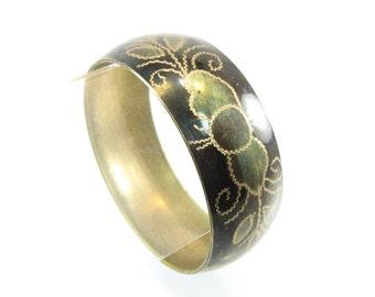 Vintage Etched Brass Bangle, Flower Design, Black, Brown, Bracelet