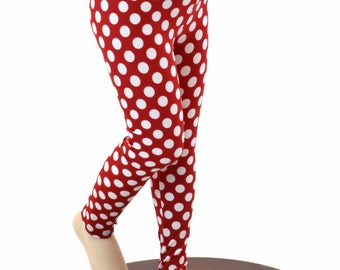 Kids Red & White Polka Dot Minnie Leggings Yoga Leggings  Sizes 2T 3T 4T and 5-12   151816