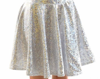 """Silver on White Shattered Glass 19"""" Skater Skirt with Holographic Sparkle 151907"""