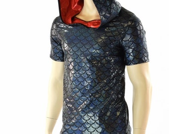 Mens Black Dragon Scale Hoodie with Short Sleeves & Red Metallic Hood Lining (No Spikes) Mens Rave or Festival Shirt 152112