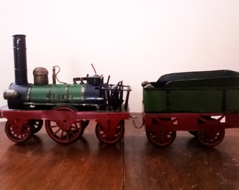 Decorative Vintage Tinplate Model of an Early Steam Locomotive and Tender