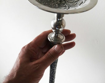 Tall White Metal Candlestick