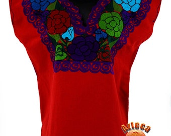 Mexican Handmade Estela Blouse-Red with Multicolor Flowers