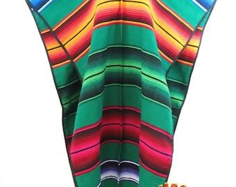 Adult Mexican Poncho Blanket Serape -Green