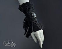 Extravagant Cuff with Lady Cameo - Dark Fashion, Elegant Goth, Dark Romantic Wedding Jewelry, Goth Victorian, Vampire Accessories