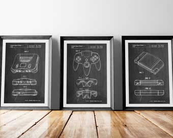 Nintendo 64 Patent Posters Group of 3, Gamer Poster, Nintendo 64 Patent Print, Gamer Decor, Game Room Decor, PP1174