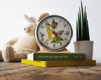 Vintage French BAYARD alarm clock BAMBI /Kids clock/Kids room decor/ RETRO Clock / French decor/ Retro decor