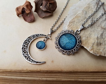 2 Moon and Sun Necklaces, best friends jewelry, moon and sun jewelry, 2 Best Friends Necklaces, Matching Necklaces, Bff Gift idea, Ice Teal
