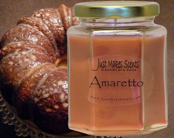Amaretto Scented Blended Soy Candle - Free Shipping on Orders of 6 or More - Homemade Amaretto Soy Candles - Toasted Almonds