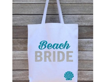 Beach Bride Tote Bag, Wedding Tote Bag, Personalized Tote Bag