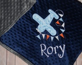 Airplane - Personalized Minky Baby Blanket - Embroidered Airplane