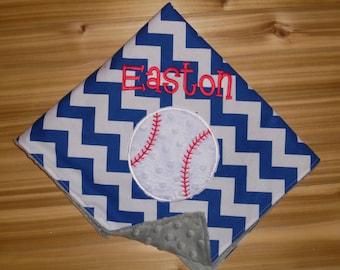 Baseball - Custom Monogrammed Minky Baby Blanket with Embroidered Baseball-Royal Chevron
