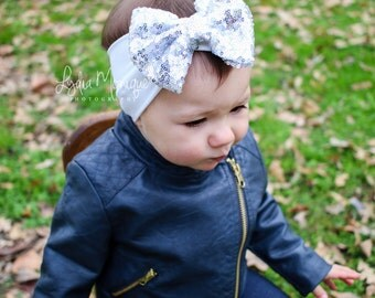Baby girl headband, silver sequin bow white headband, sparkle bow headband, infant head wrap, baby bows, first easter, 1st birthday