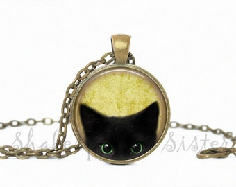Black Cat Necklace - Cat Jewelry - Green Eyes - Black Cat Jewelry - Peeking Black Cat - Pendant Necklace