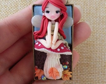 fairy cameo necklace in autumn. Fantasy, fall, polymer clay