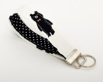Bear Keychain, Wristlet Strap, Key Fob - Black and White Bear Gift