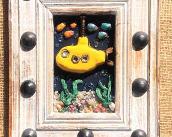 Yellow Submarine Art, Kid's Room Decor, Whimsical Underwater Scene, Yellow Sub Decor