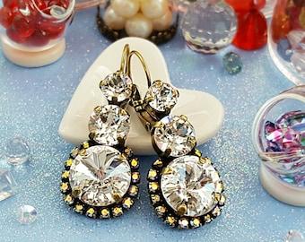 Crystal Bridal Earrings, Diamond Anniversary, Bronze Wedding Earrings, Crystal Drop Earrings, Swarovski, Clear Earrings, E3931