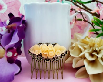 Light Peach Bridesmaid Comb, Peach Wedding Hair Comb, Light Orange, Floral Hair Comb, Flower Hair Accessory, Apricot Wedding, Bun Comb H2062