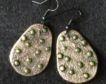 Earrings Distressed Boho Polymer Clay Metallic Industrial Jewelry Casual Dangles BEAD by ArtCirque Donna Pellegata