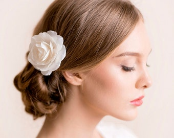 Bridal Hair Flower Rose - Bridal Rose Hair Flower - Flower Hair Clip - Wedding Clip - White, Ivory - Wedding Hair Accessories