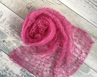 Pink Newborn Stretch Wrap, Newborn Girl Photo Prop, Newborn Mohair Wrap, Knit Swaddle Blanket, Lace Newborn Wrap, Mohair Newborn 25 Colours