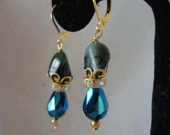 Emeralds and Blue Sapphire Faceted Oval Crystal Earrings*****.